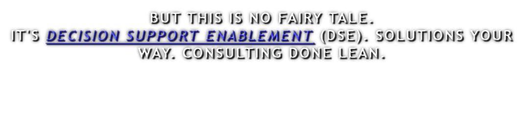 BUT THIS IS NO FAIRY TALE. IT'S DECISION SUPPORT ENABLEMENT (DSE). SOLUTIONS YOUR WAY. CONSULTING DONE LEAN.